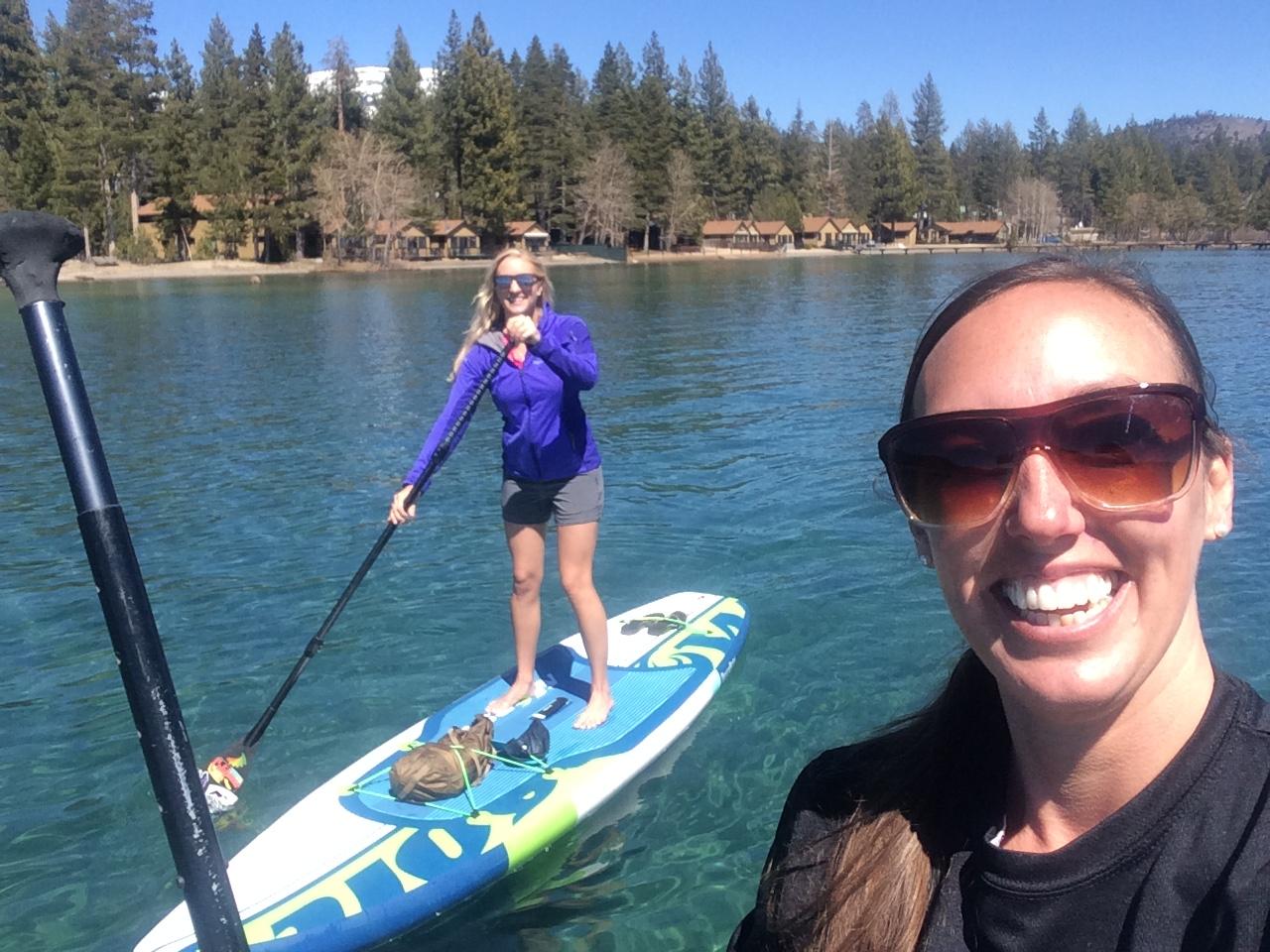 Fun with friends paddling Lake Tahoe