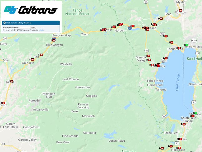 CalTrans Traffic Camera Map Lake Tahoe area