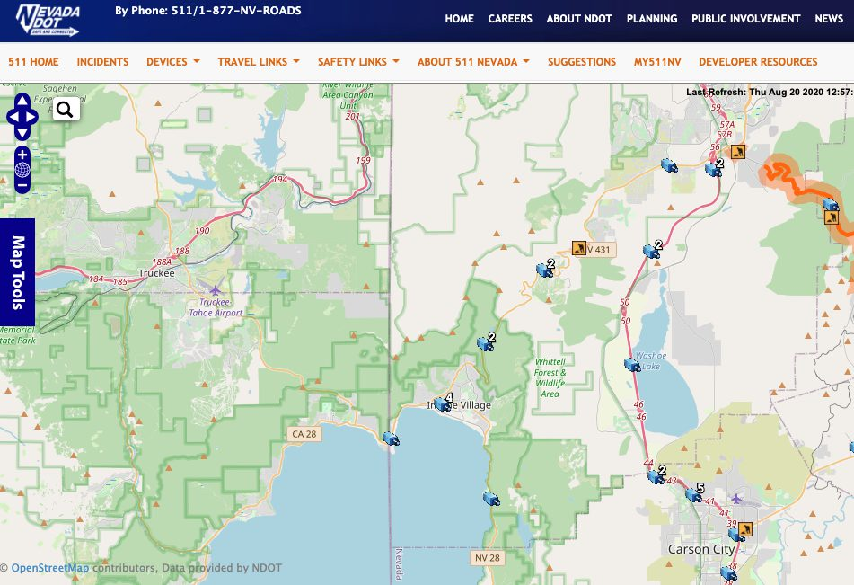Nevada DOT Traffic Camera Map Lake Tahoe Area