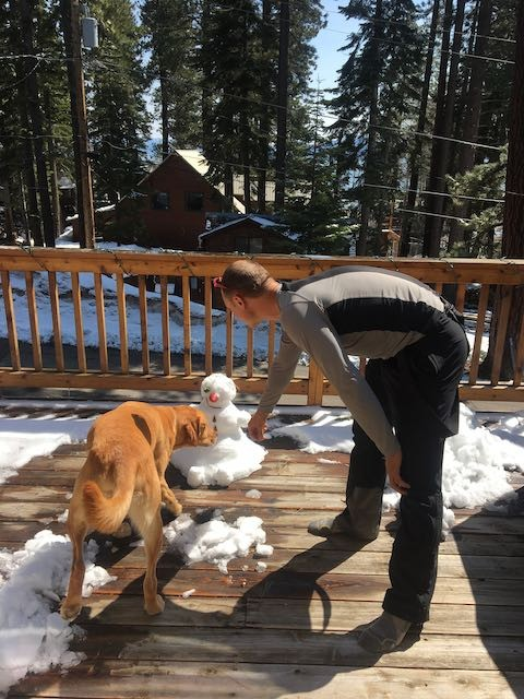 Tahoe Dog and Snowman