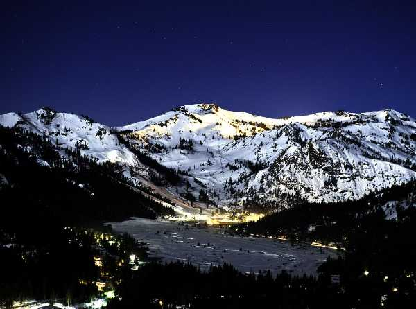 Squaw Valley at Night in the Winter