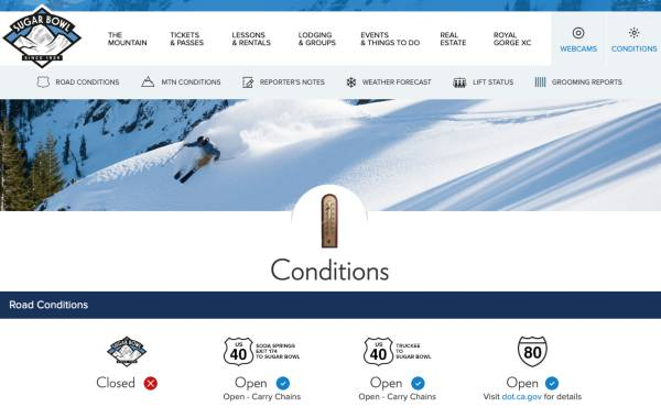 Sugar Bowl Resort Conditions Page