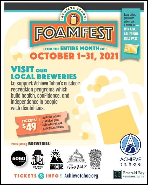 Achieve Tahoe FoamFest Tickets October 2021