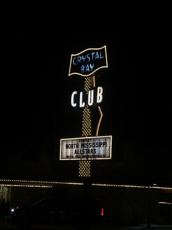 Crystal Bay Club sign at night