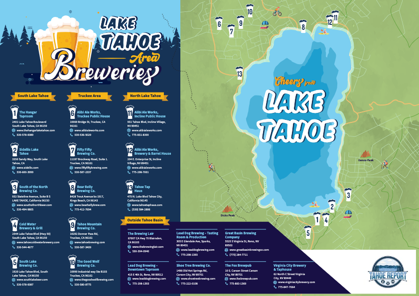 Lake Tahoe Area Breweries Map Infographic