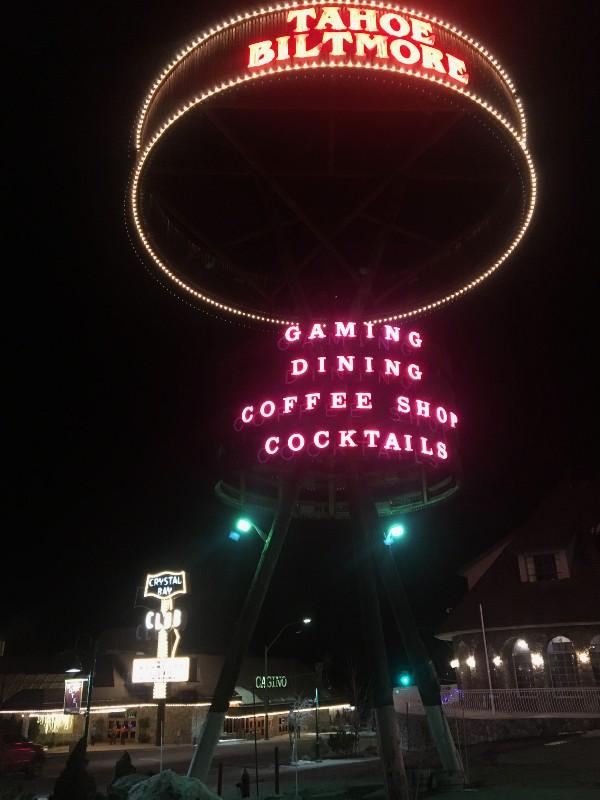 Tahoe Biltmore sign at night